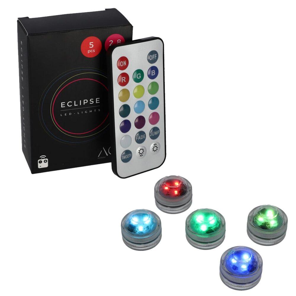 AO ECLIPSE - Set 5 mini LED RGB cu telecomandă